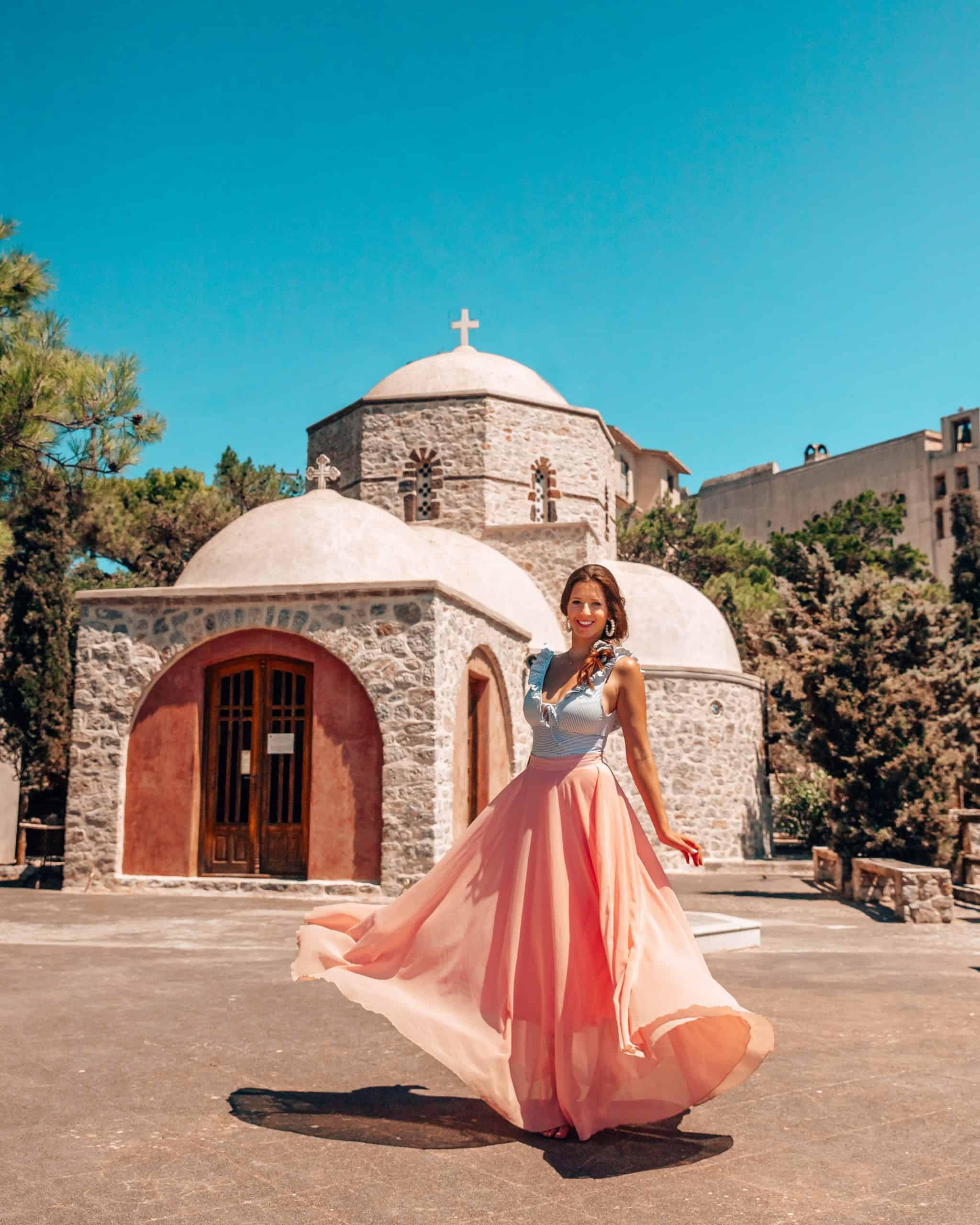 Bettina at Santorini Monastery of Profitis Ilias