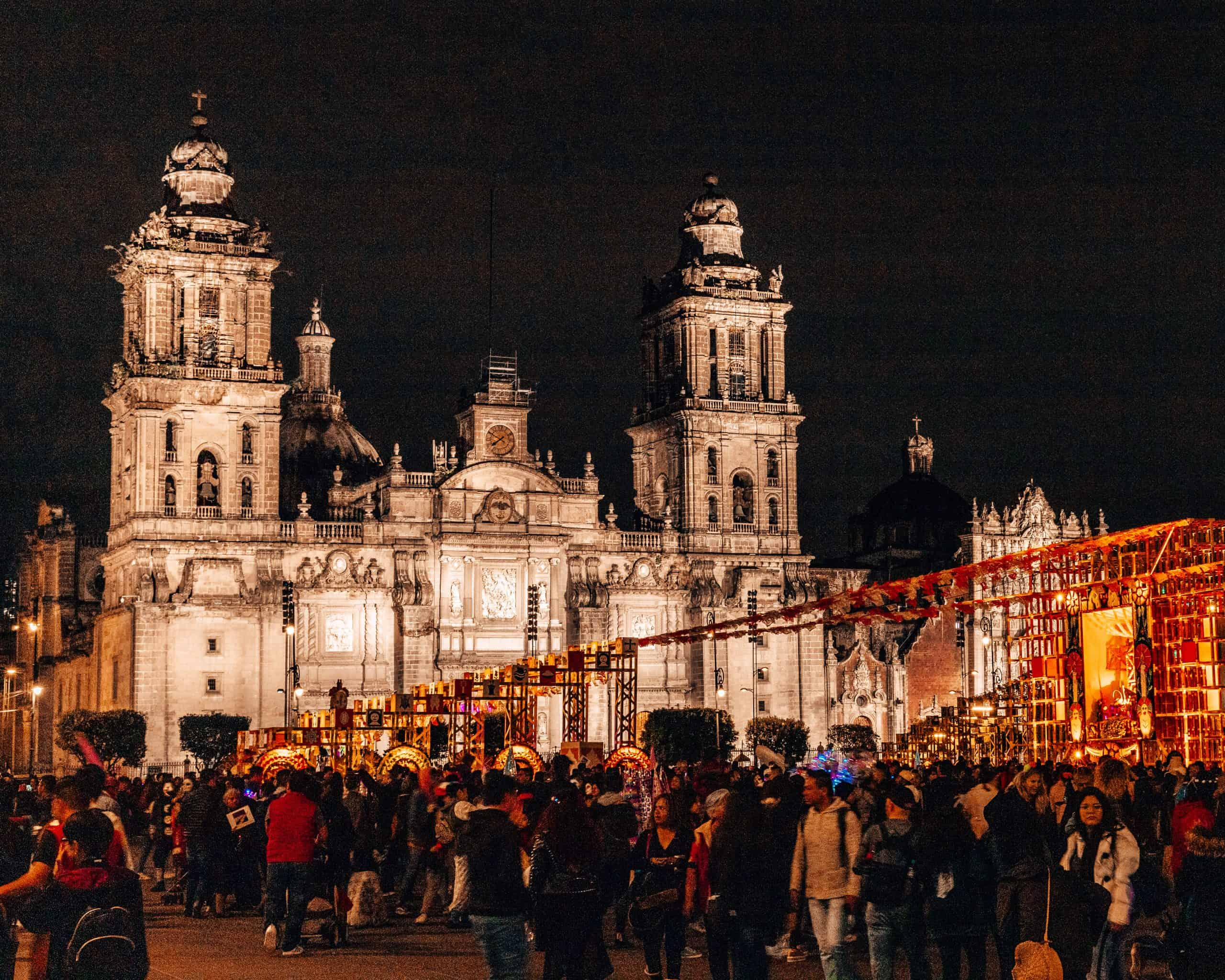 Plaza de la Constitucion for Dia de los Muertos at Night Mexico City