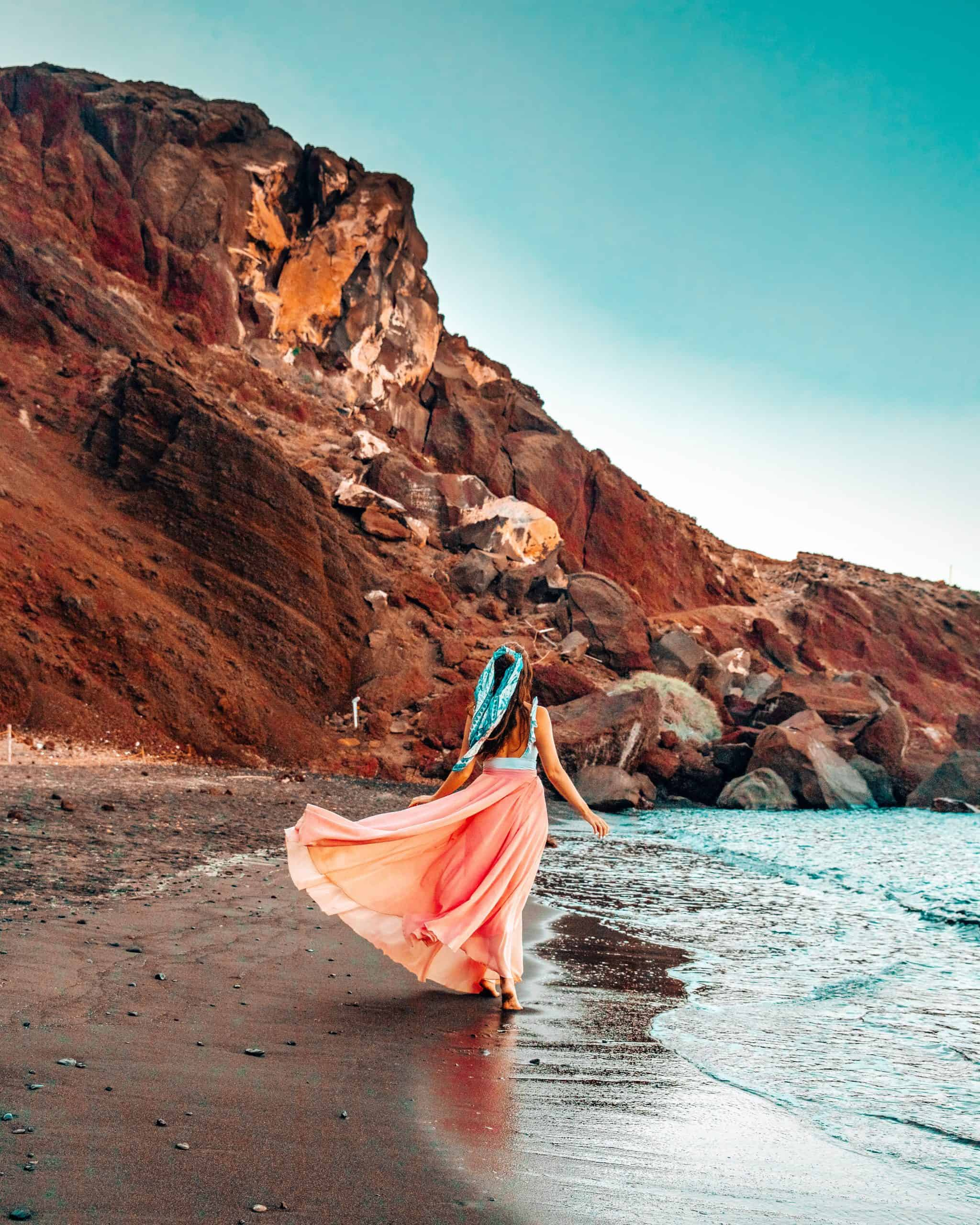 Bettina Walking Along Red Beach in Santorini