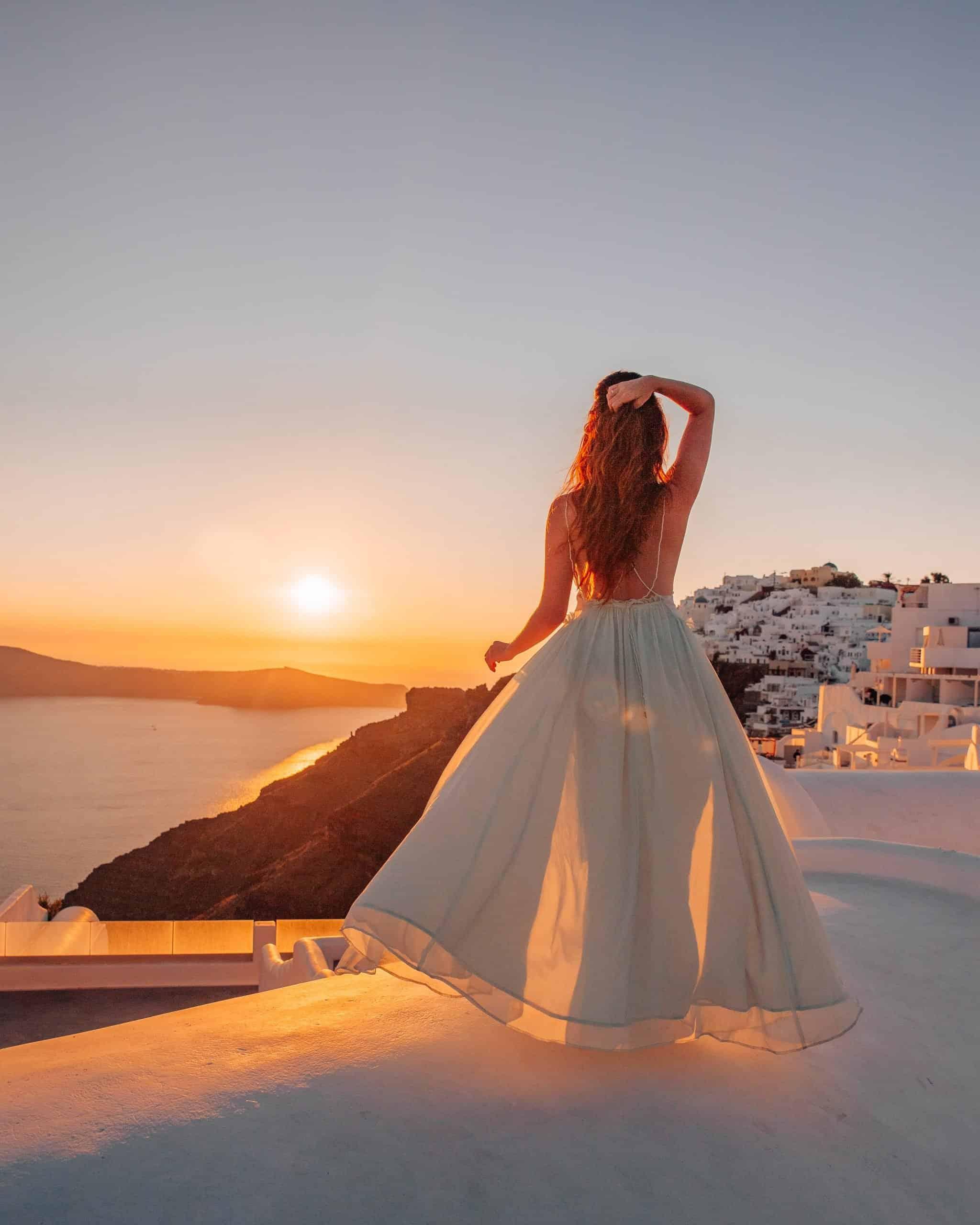 Sunset on Santorini Rooftop in Imerovigli