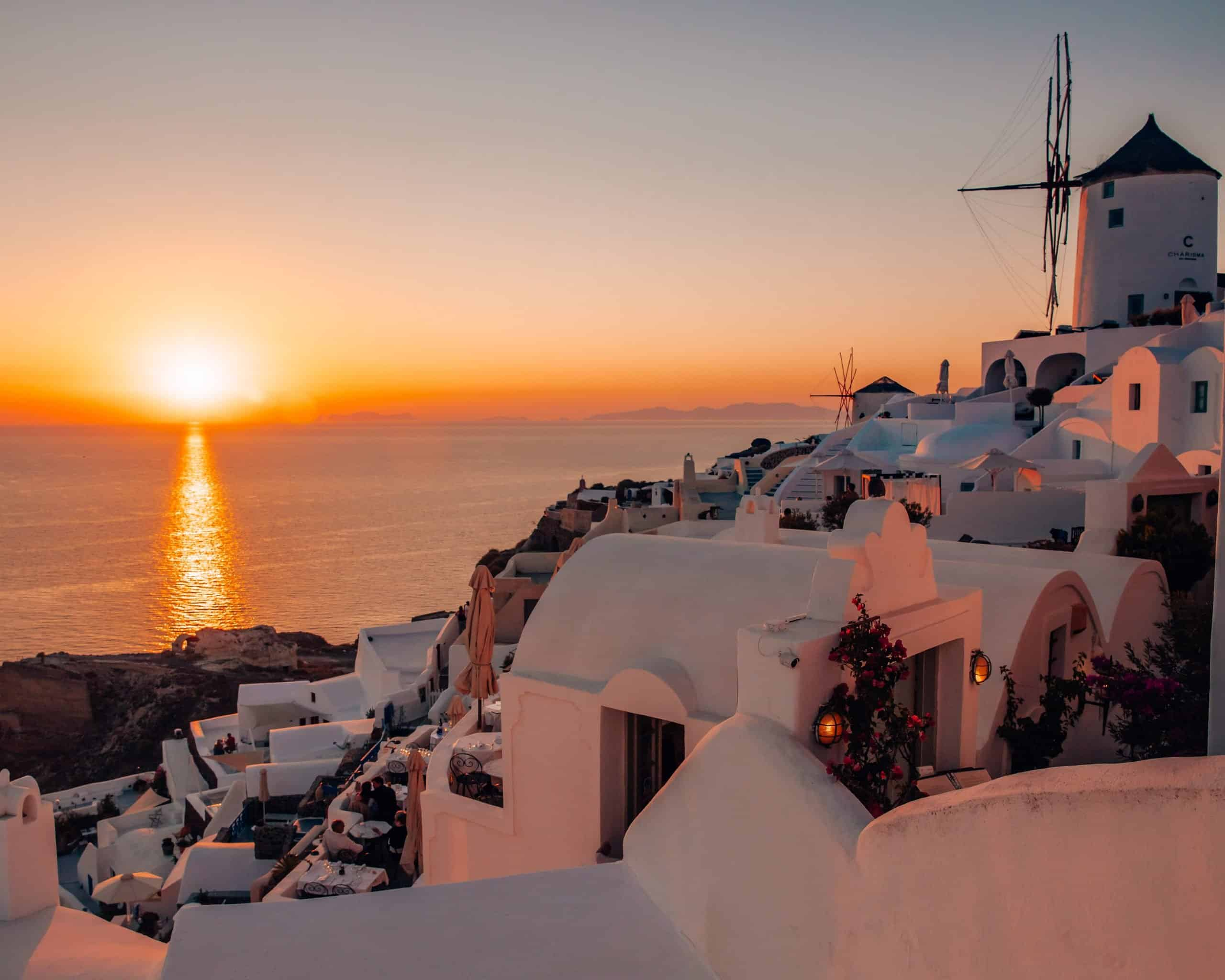 Sunset View with Windmill in Oia, Santorini