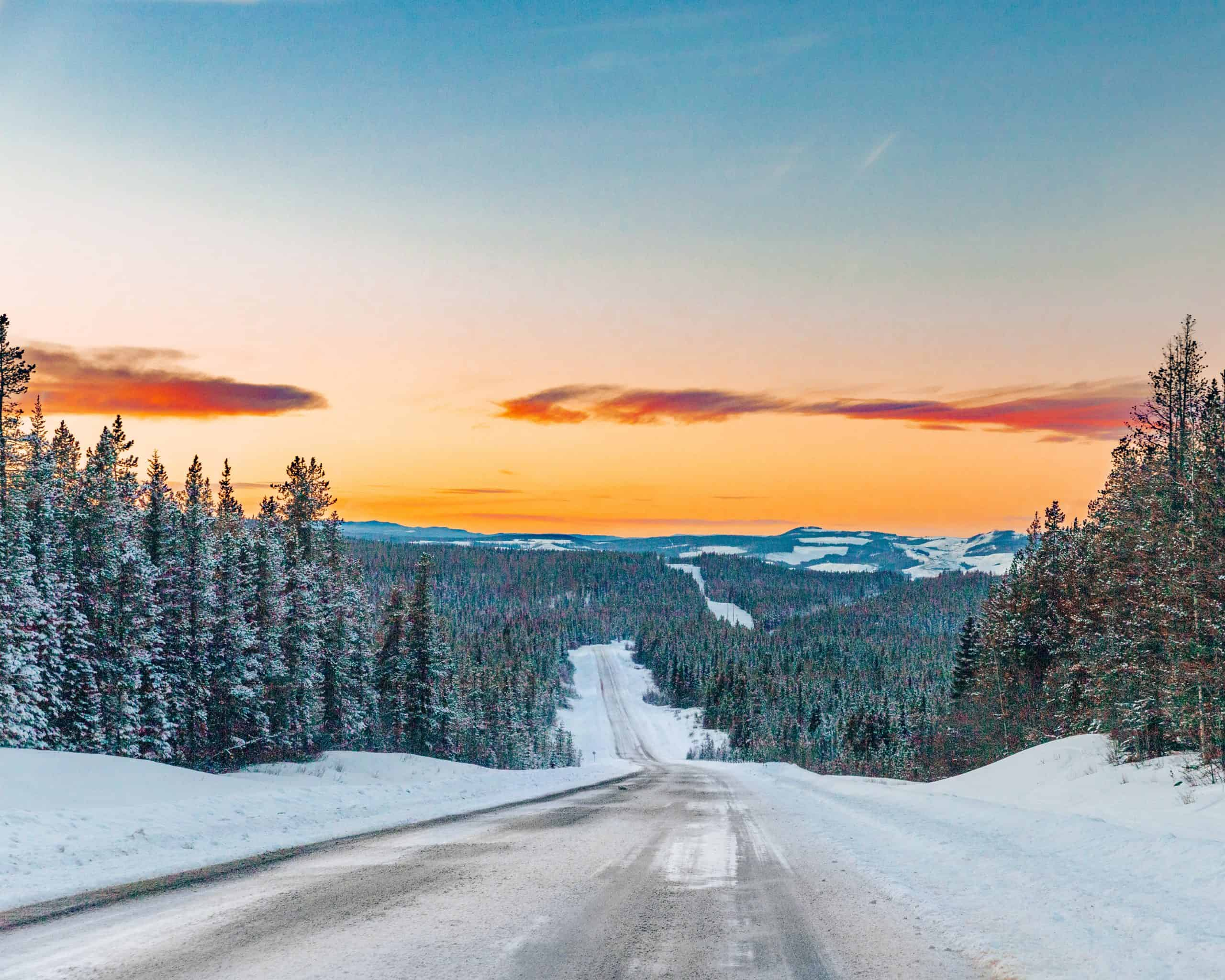 Sunset on snow-covered icefields parkway, Canada - Best Things to do in Jasper in Winter