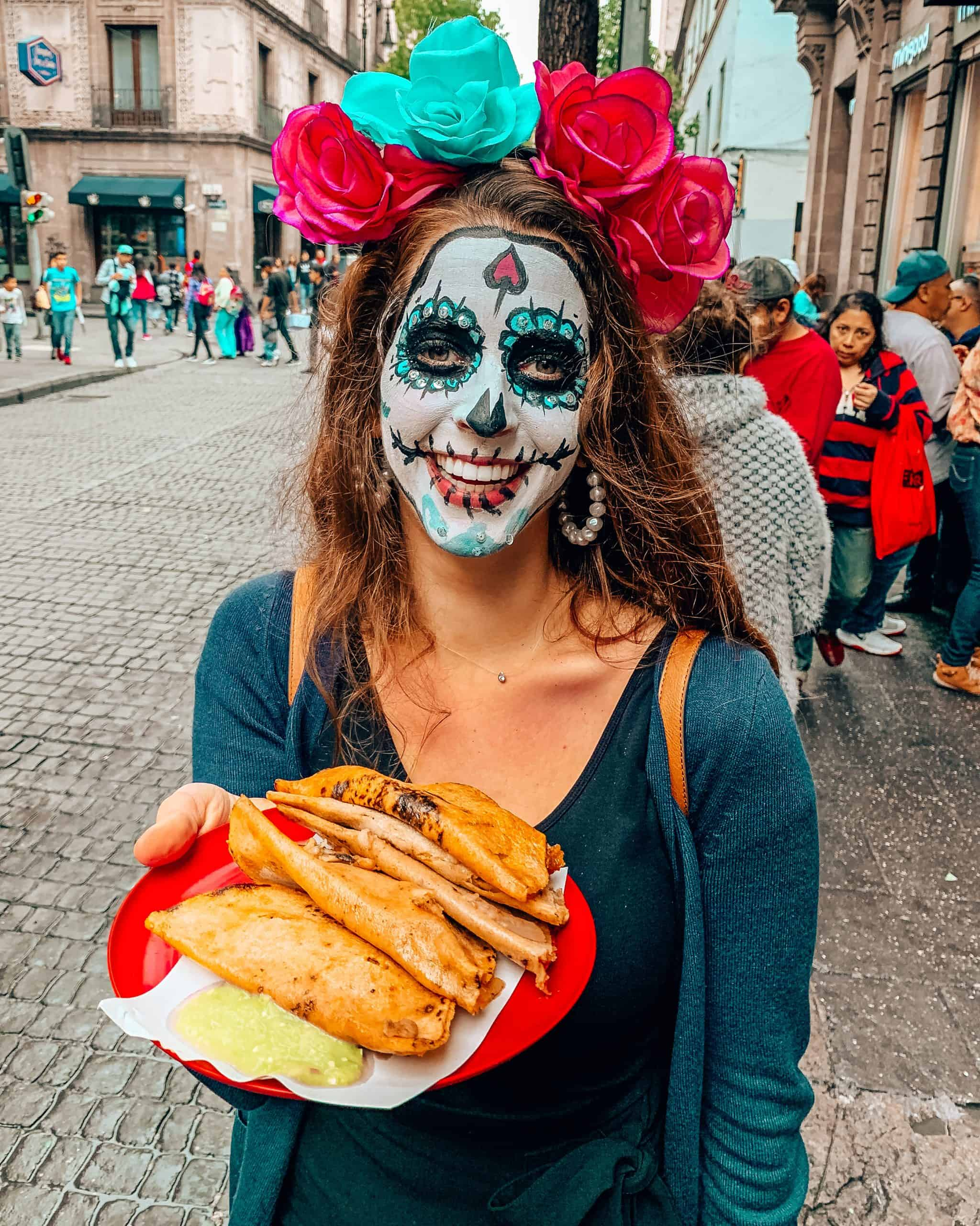 Bettina with Tacos from Street Vendor in Mexico City