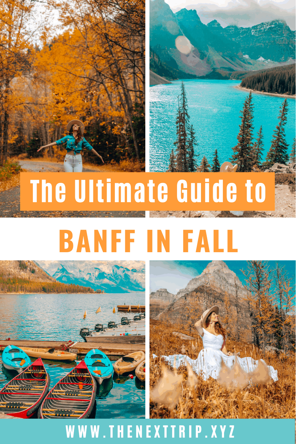 The ultimate guide to Banff in Fall to plan the perfect Banff itinerary. These are the best places to see the fall foliage, the most scenic lake and when to visit, the best hikes in Banff National Park, and what to see around Banff. | Banff National Park | Banff Photography Guide | Moraine Lake | Lake Louise | Banff in Fall | Fall Outfit | Banff Instagrammable Places | Banff Outfit Fall | Banff Itinerary | Banff Hikes