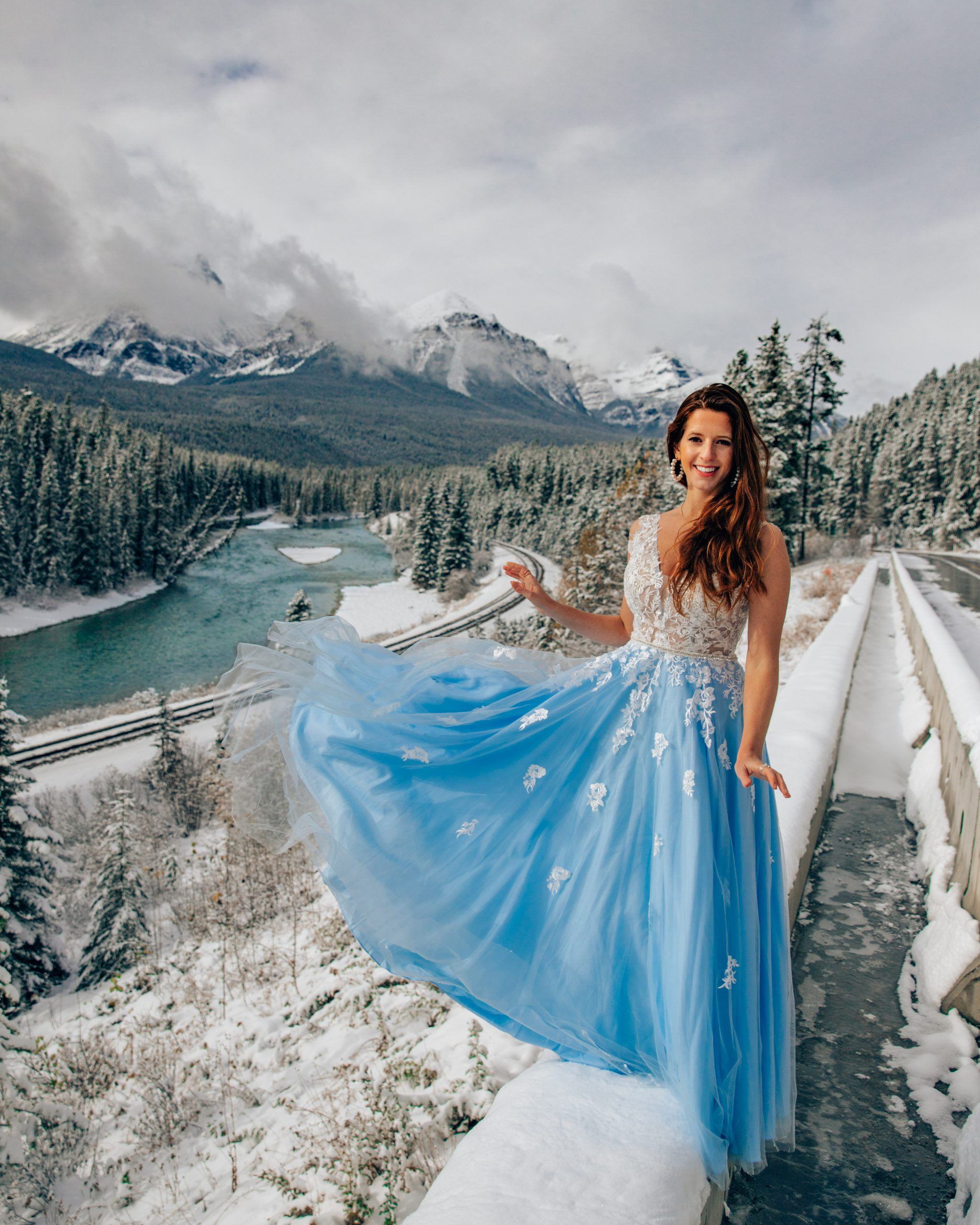 Bettina in Princess Dress at Morant's Curve in Banff National Park