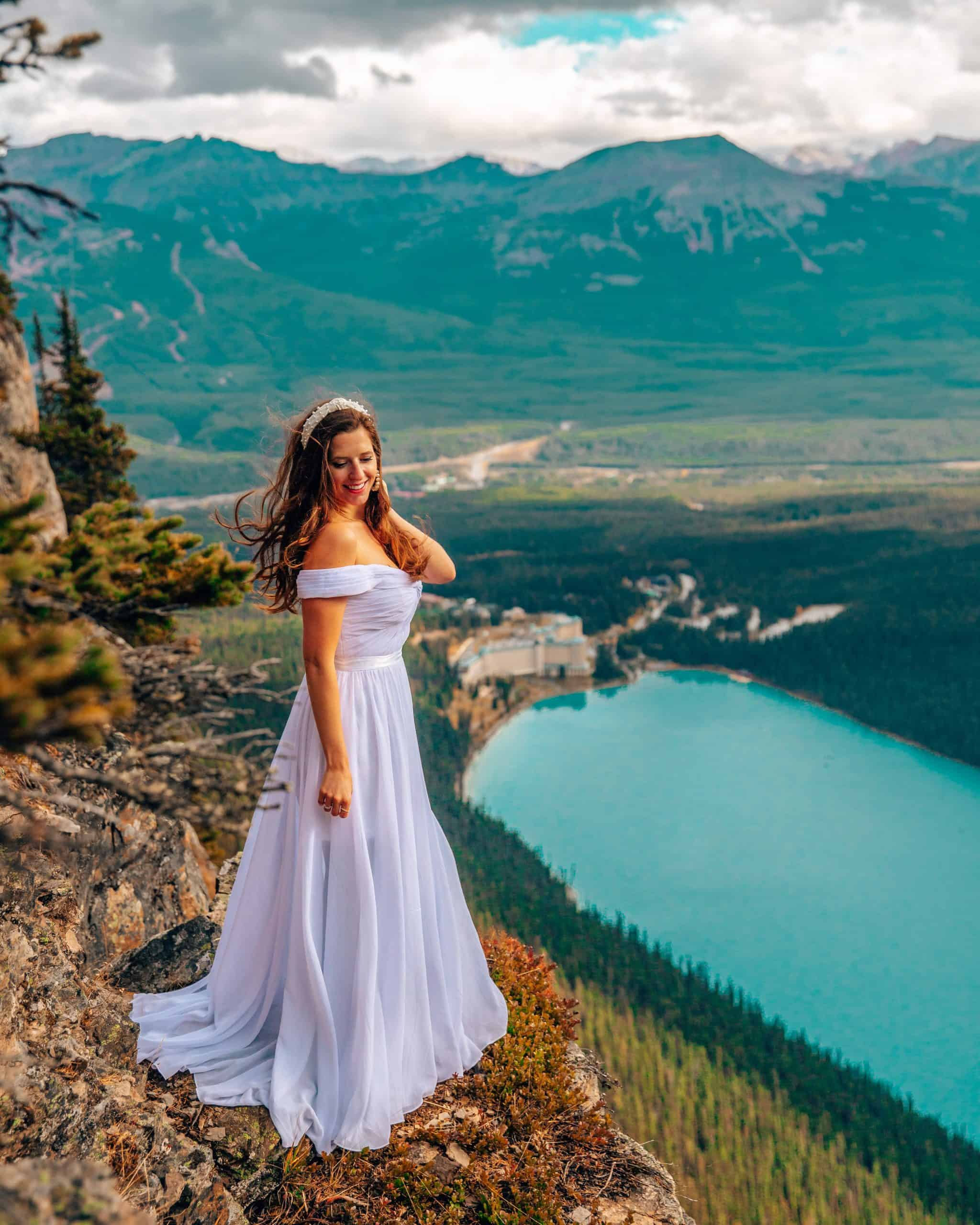 Bettina in White Dress at Big Beehive Viewpoint Lake Louise