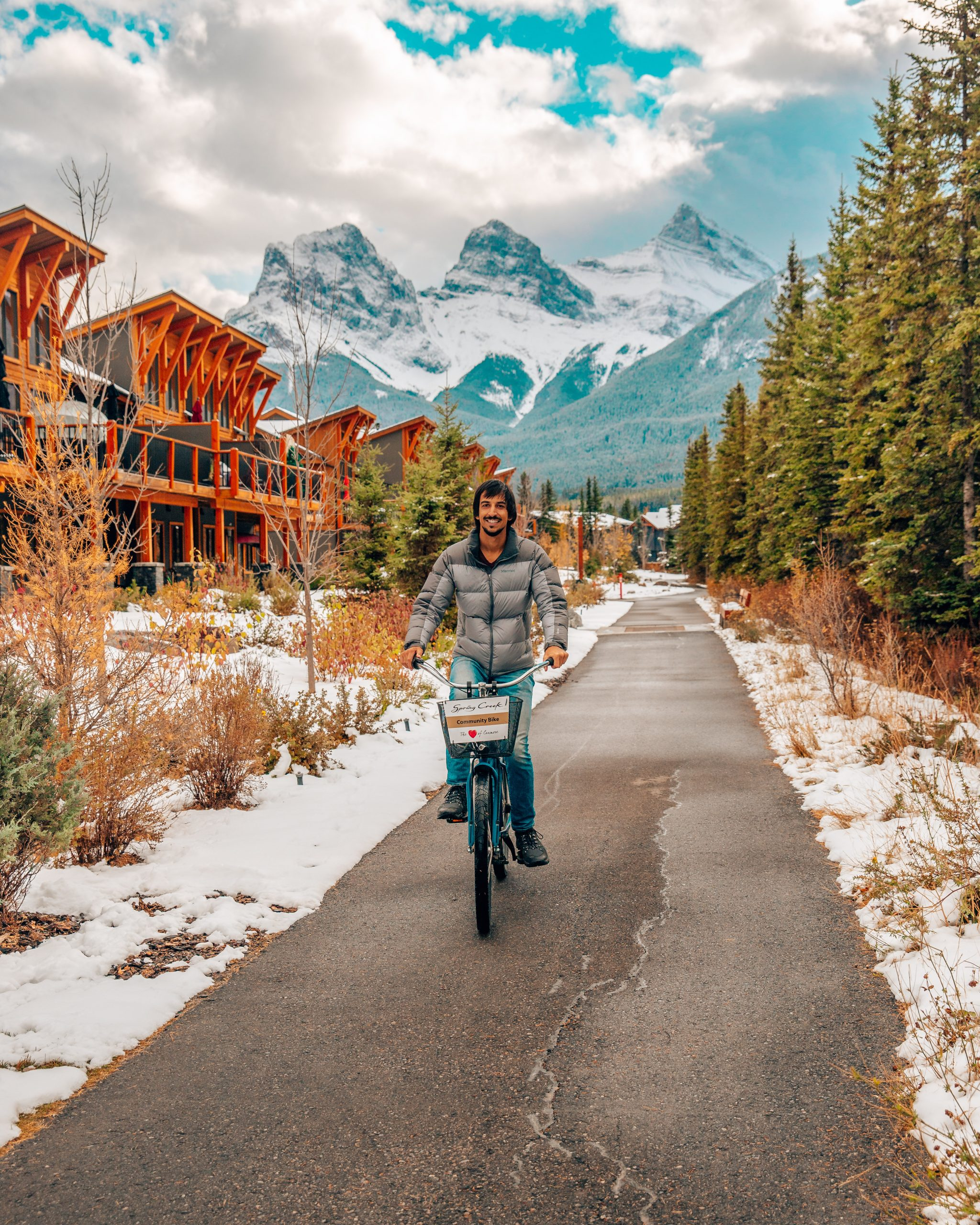 Kyle Biking on Policeman's Creek Boardwalk Canmore