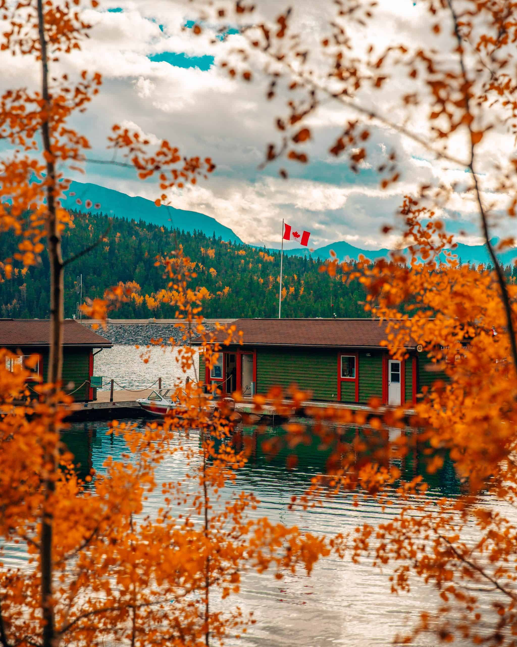 Boathouse with Fall Foliage at Lake Minnewanka