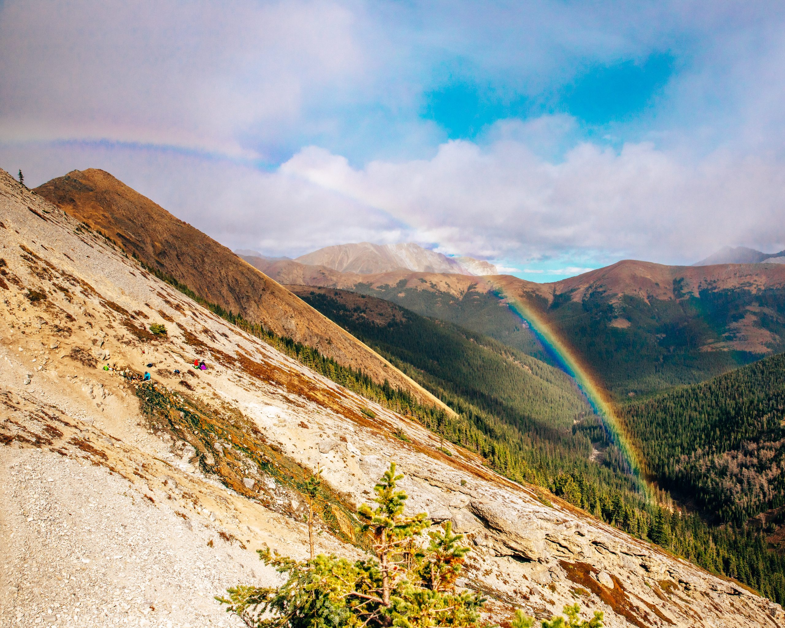 View of Rainbow and Mist Mountain Hot Springs on Mist Mountain, Kananskis
