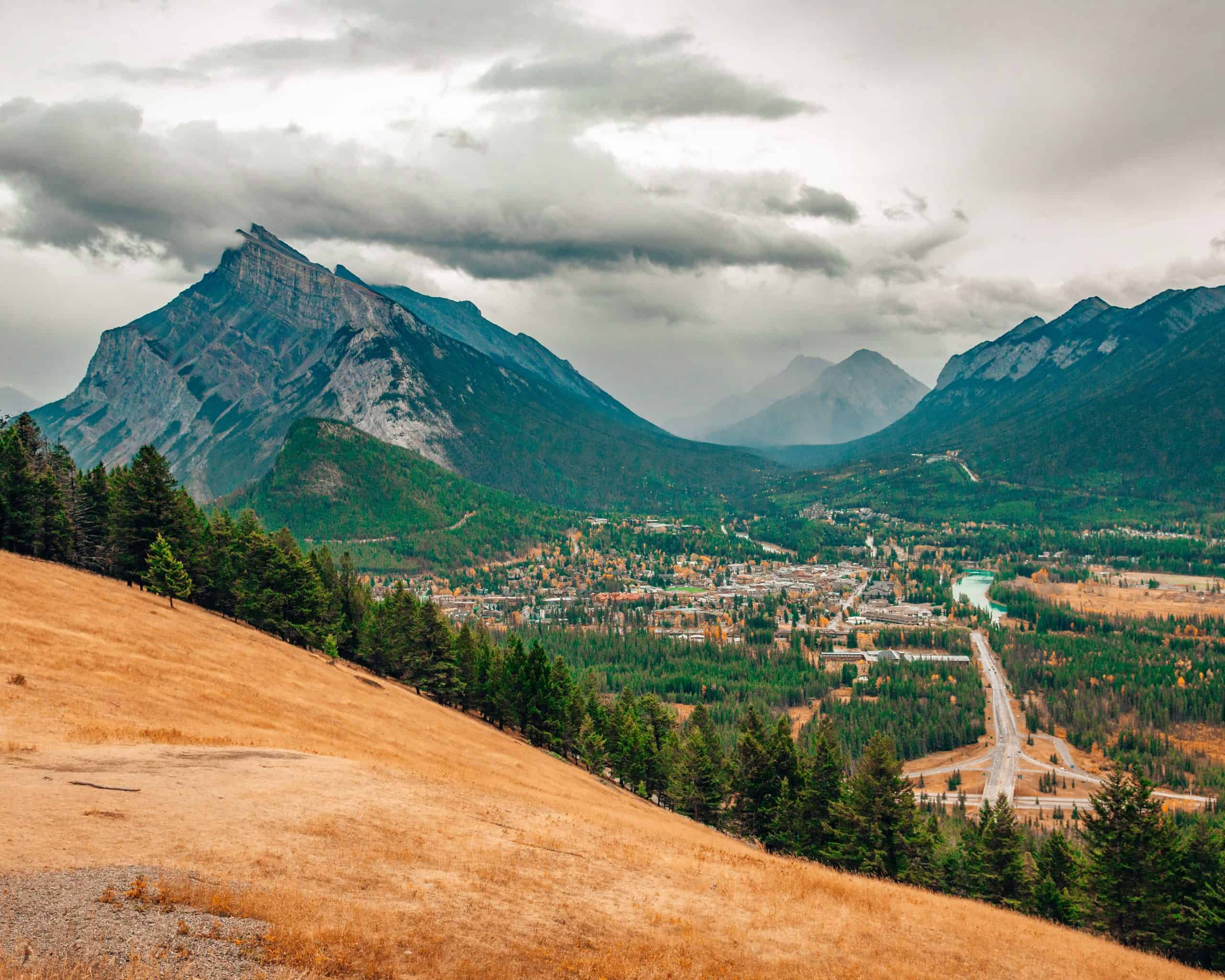 View from Mount Norquay Lookout of Banff in Fall
