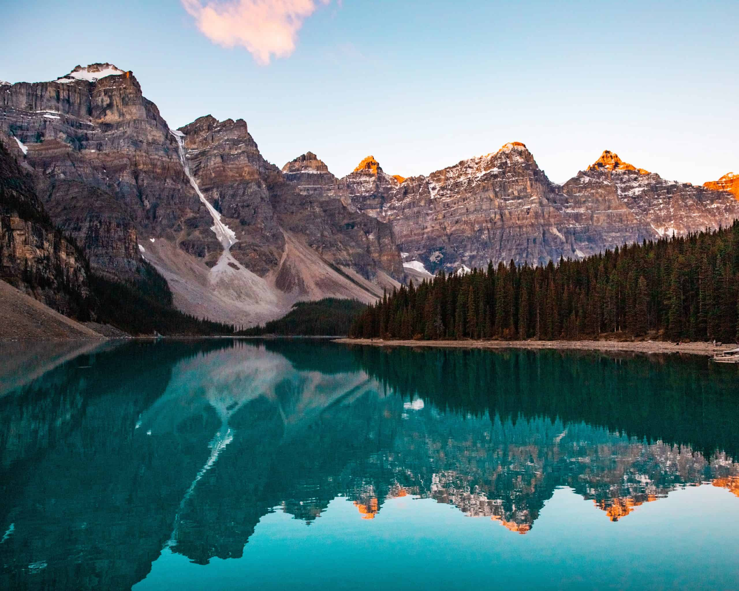 Pink Mountain Peaks at Moraine Lake at Sunrise
