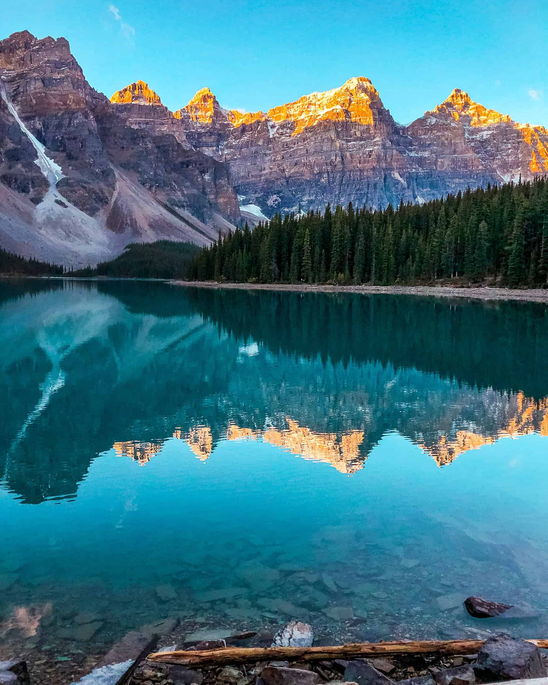 Orange Mountain Peaks at Sunrise at Moraine Lake in Fall