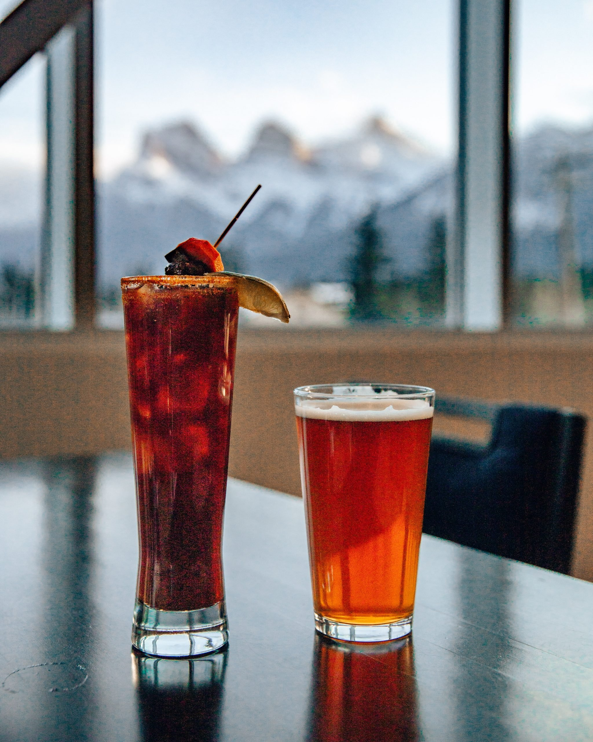 2 Drinks with the view of the three sisters at the sensory canmore