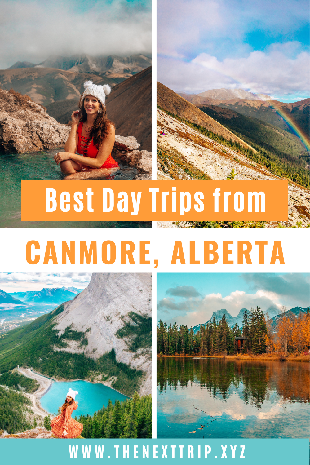 Best Things to Do in Canmore in Fall and the ultimate guide to Canmore. Hike Ha Ling Peak, enjoy the view from East End of Rundle, go biking, take photos of the three sisters, and go on incredible day trips from Canmore. Hike to the secret Mist Mountain hot springs in Kananaskis, watch the sunrise at Moraine Lake, visit Lake Louise, spot grizzly bears at Bow Valley Parkway, and hike to Johnston Canyon. |Canmore Alberta | Canada Travel | Rocky Mountain Travel | Canmore Hikes | Banff National Park | Lake Louise | Moraine Lake | Alberta Travel