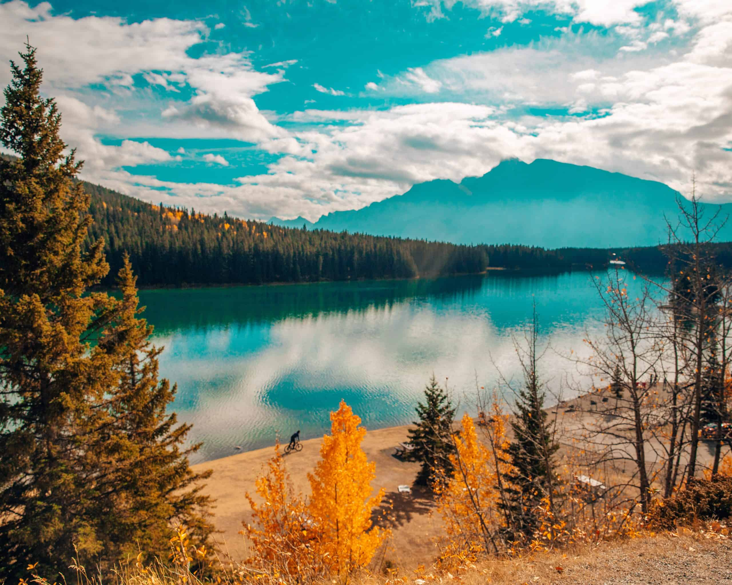 View of Two Jack Lake in Fall