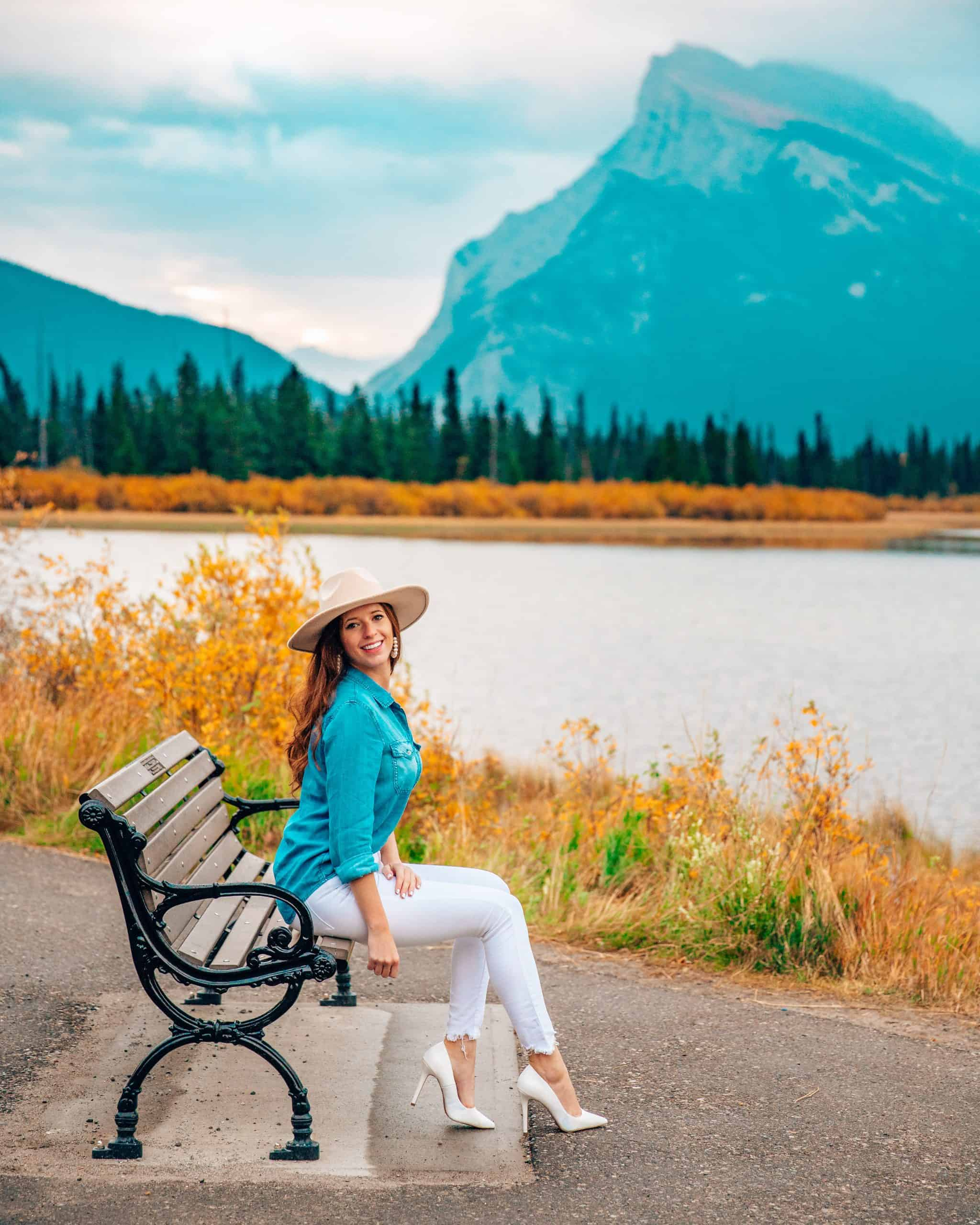 Bettina Sitting on a Bench at Vermillion Lakes