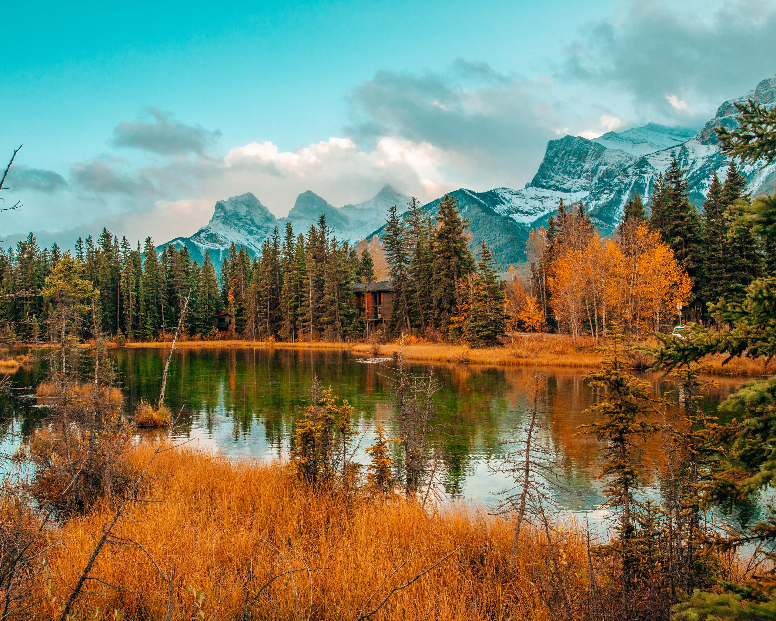 View of Three Sisters in Canmore in Fall
