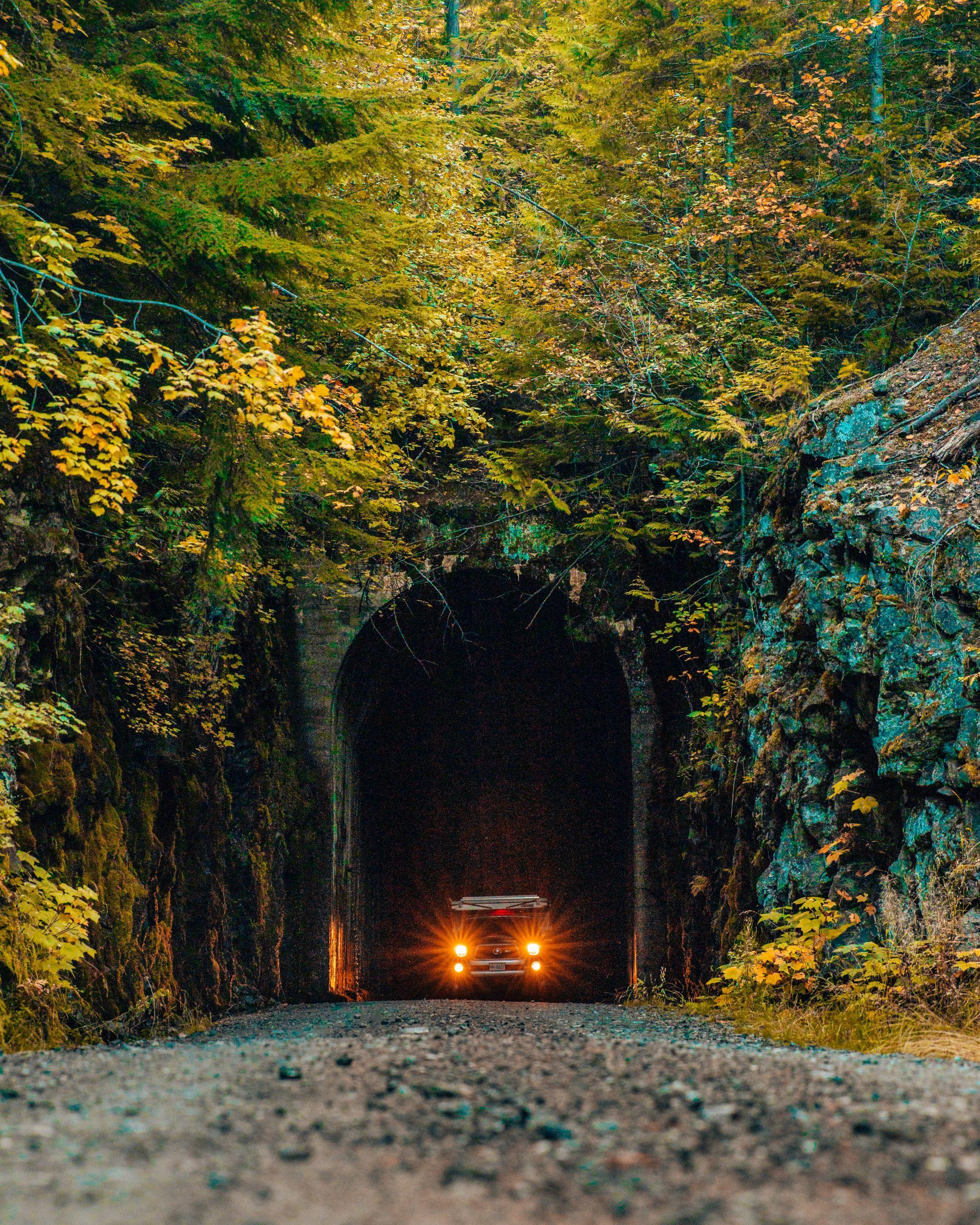 Truck in Bulldog Tunnel Entrance British Columbia