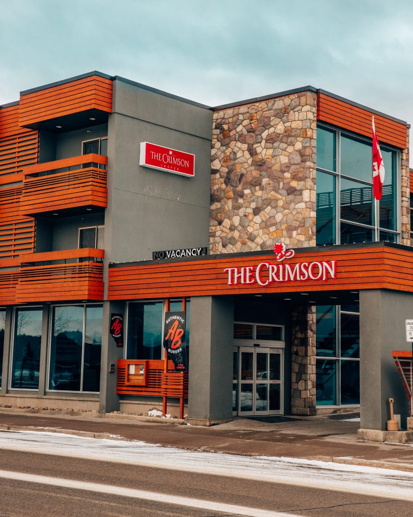 Main Entrance of the Crimson Hotel in Jasper in Winter