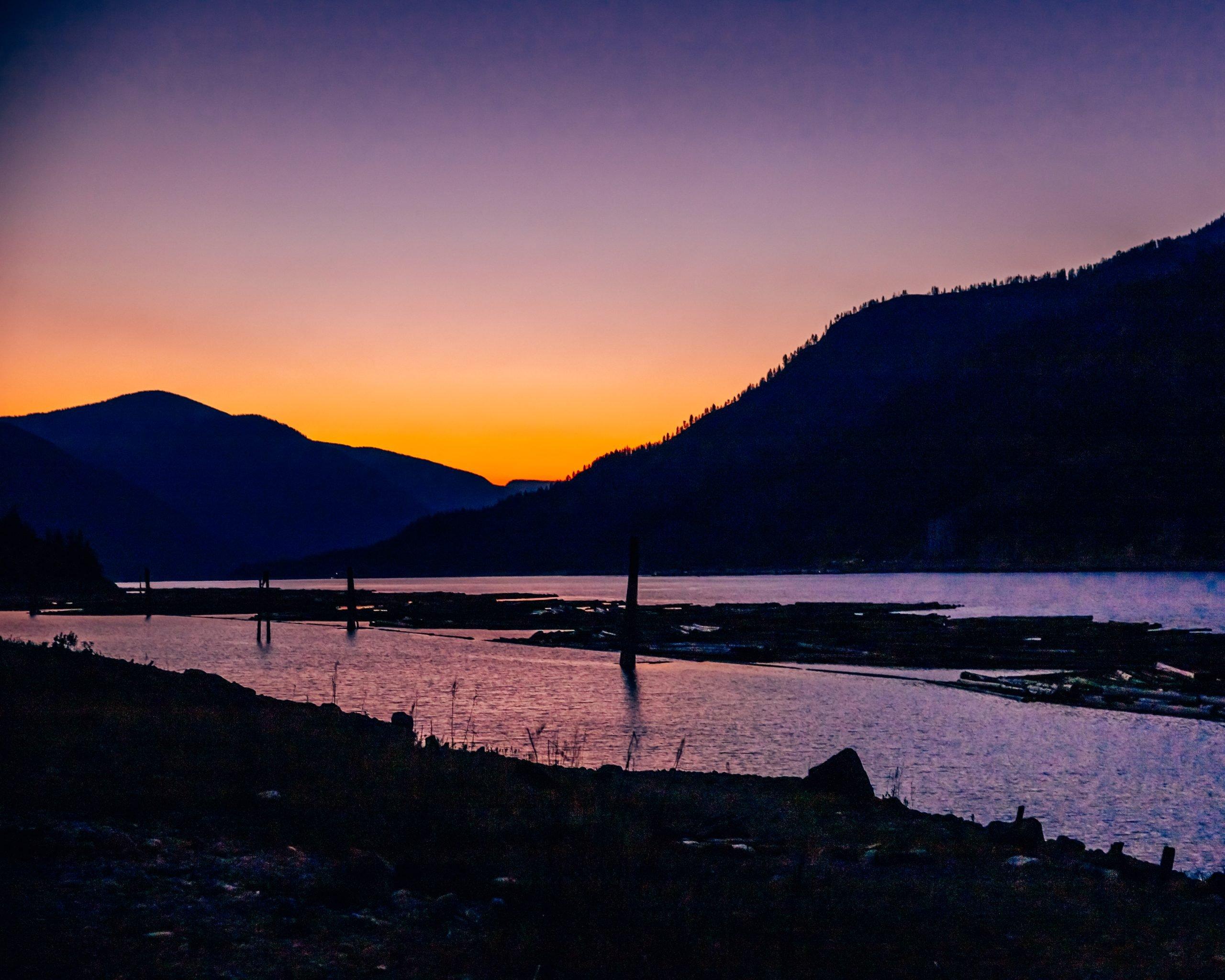 Sunset Upper Arrow Lake British Columbia