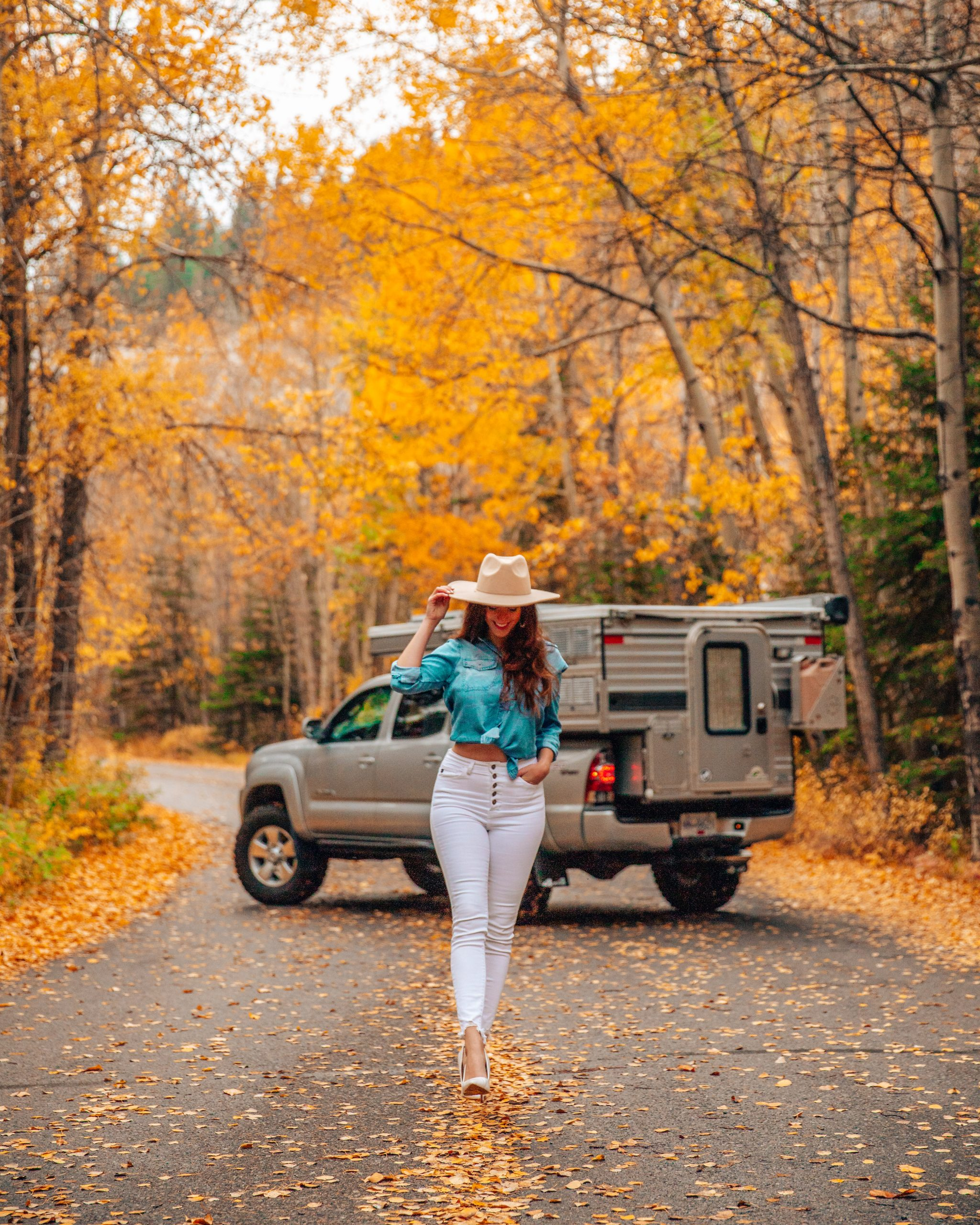 Swift Pop Up Camper in front of Fall Foliage