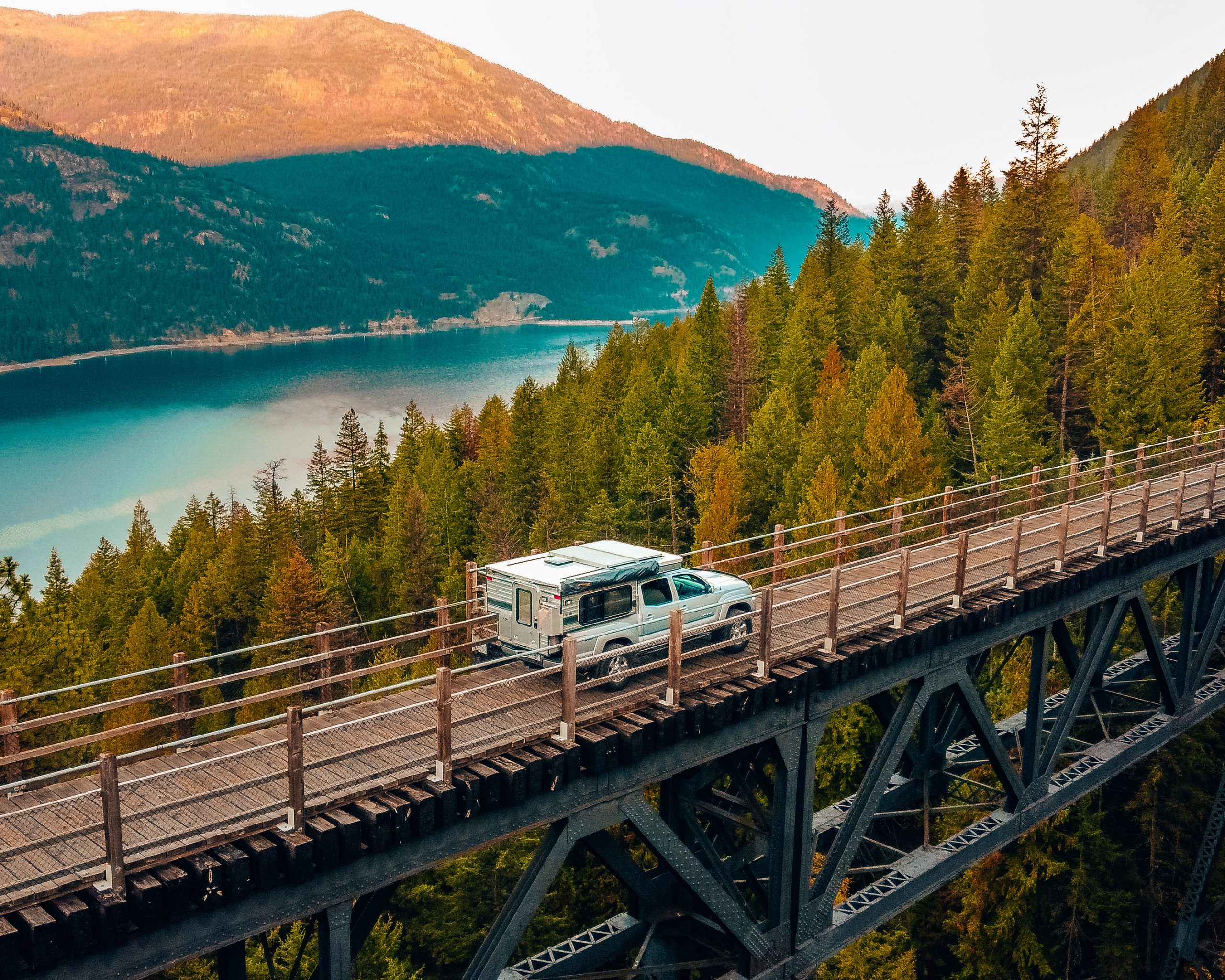 Truck on Train Trestle Bridge British Columbia