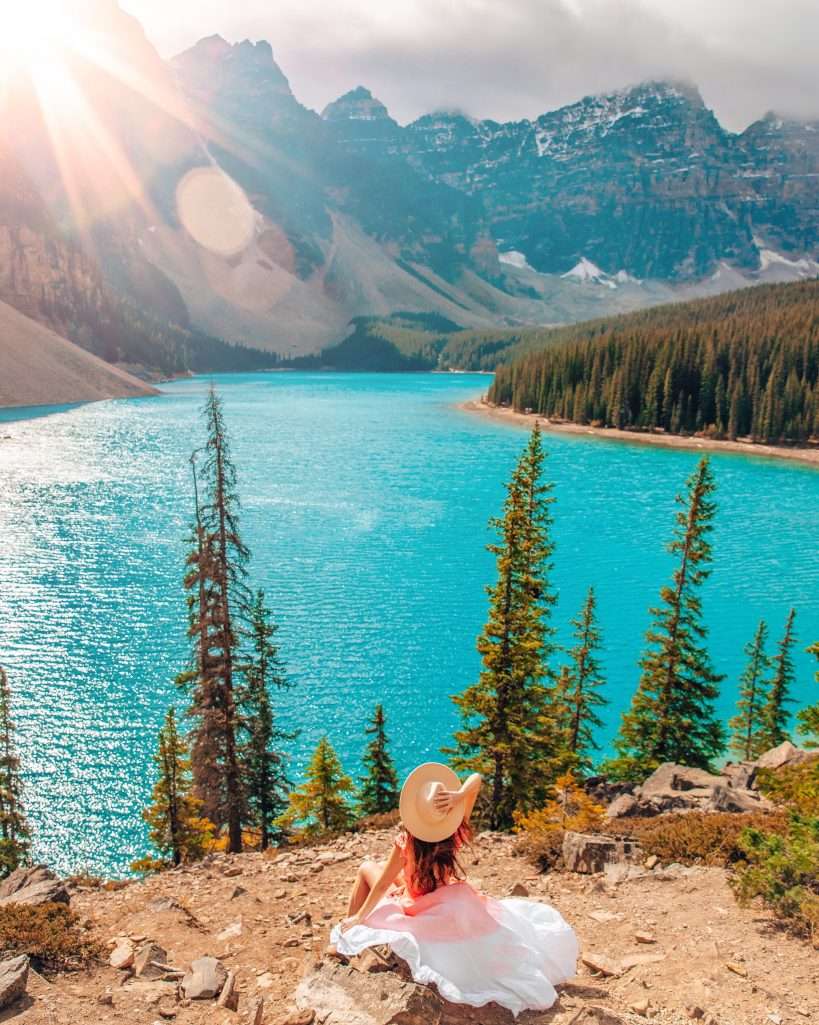View of Moraine Lake with Sunflare