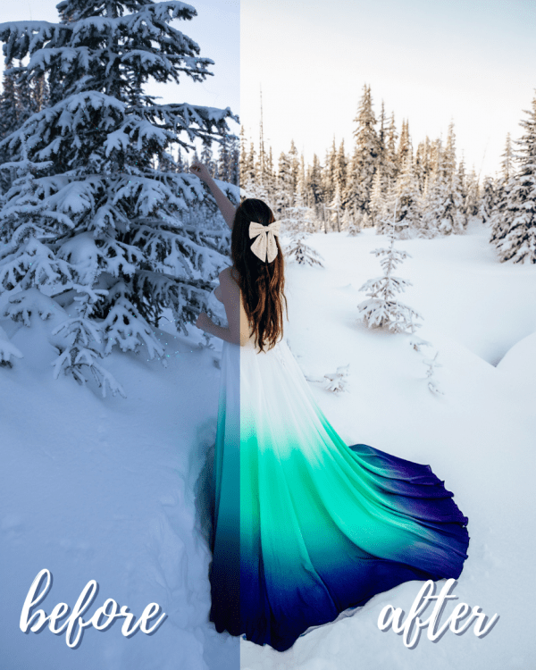 Winter Love Mobile Lightroom Preset Collection - Afternoon in the Snow Before and After
