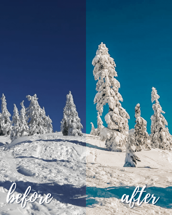 Winter Love Mobile Lightroom Preset Collection - Playing in the Snow Before and After