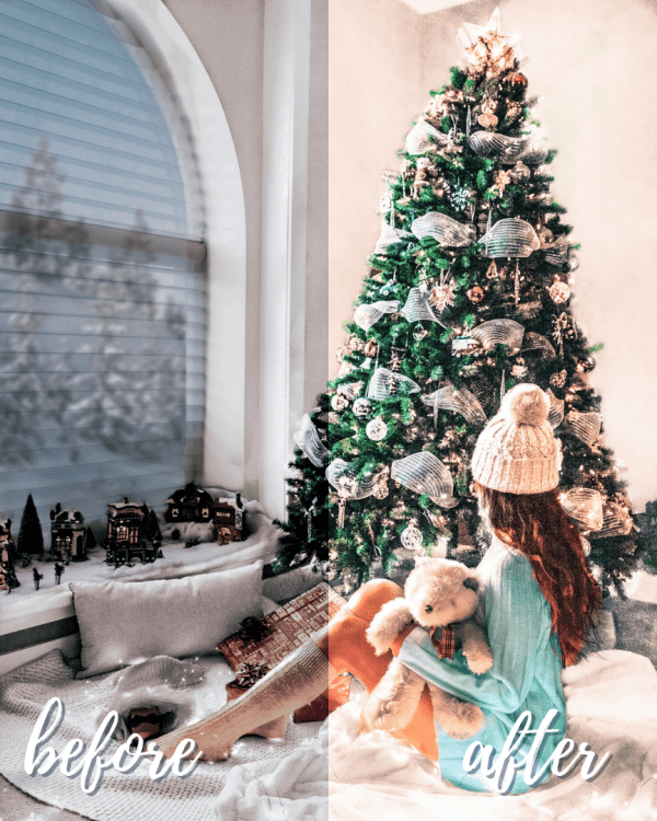 Winter Love Mobile Lightroom Preset Collection - Indoor Christmas Vibes Before and After
