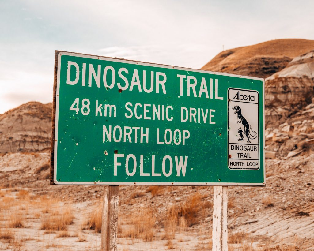 Dinosaur Trail Sign Drumheller Alberta