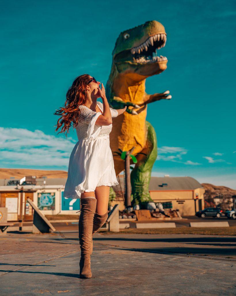 Running from Drumheller Dinosaur