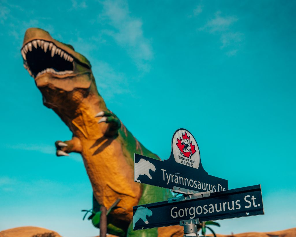 Drumheller T-Rex and Street Signs