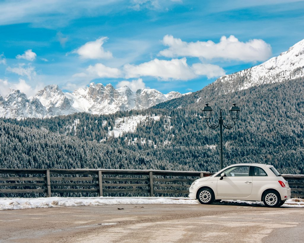 Fiat 500 Driving in Switzerland in Winter