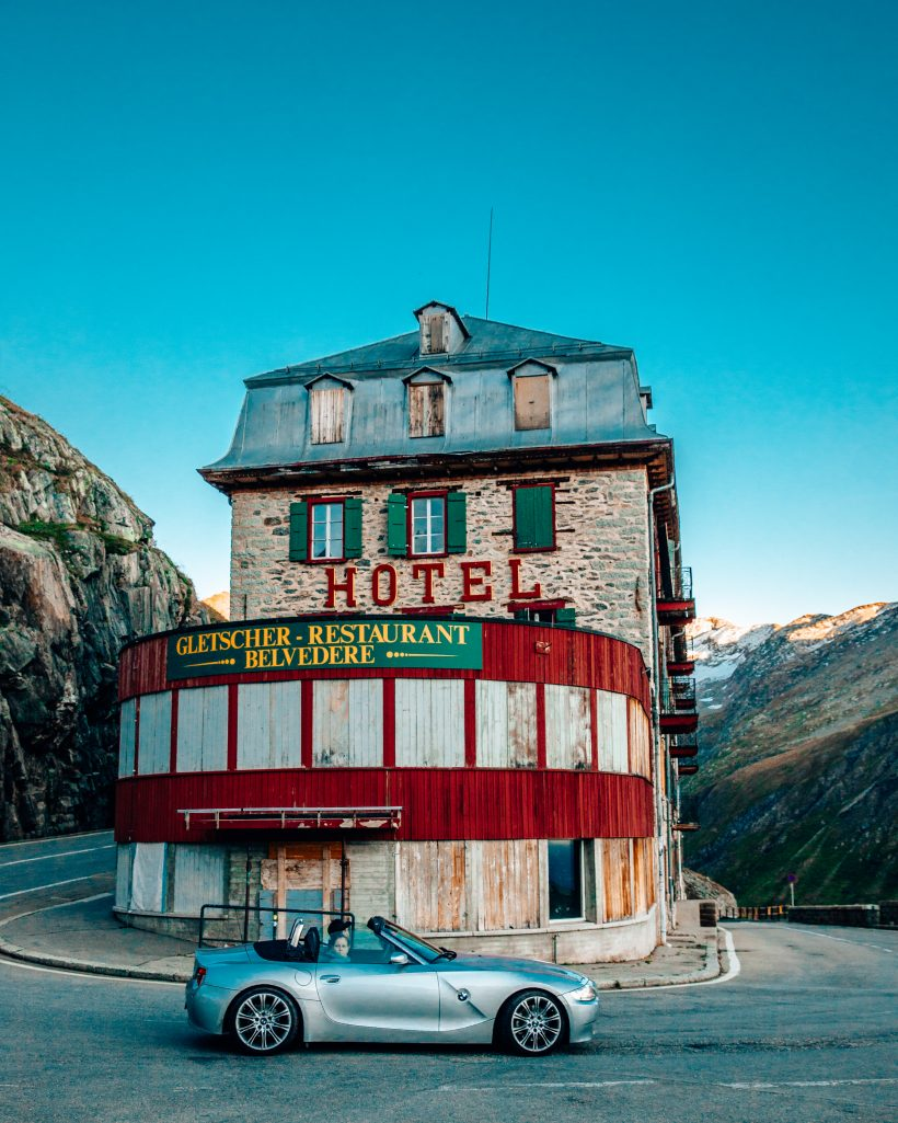 Furka Pass Hotel Belvedere Driving in Switzerland