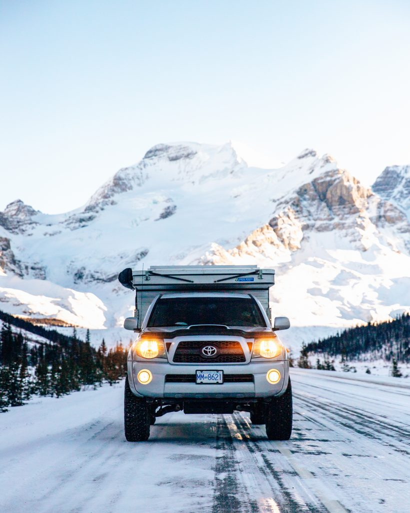 Toyota Tacoma Icefields Parkway in Snow