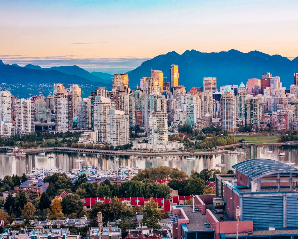 Vancouver Skyline and Surrounding Mountains at Sunrise