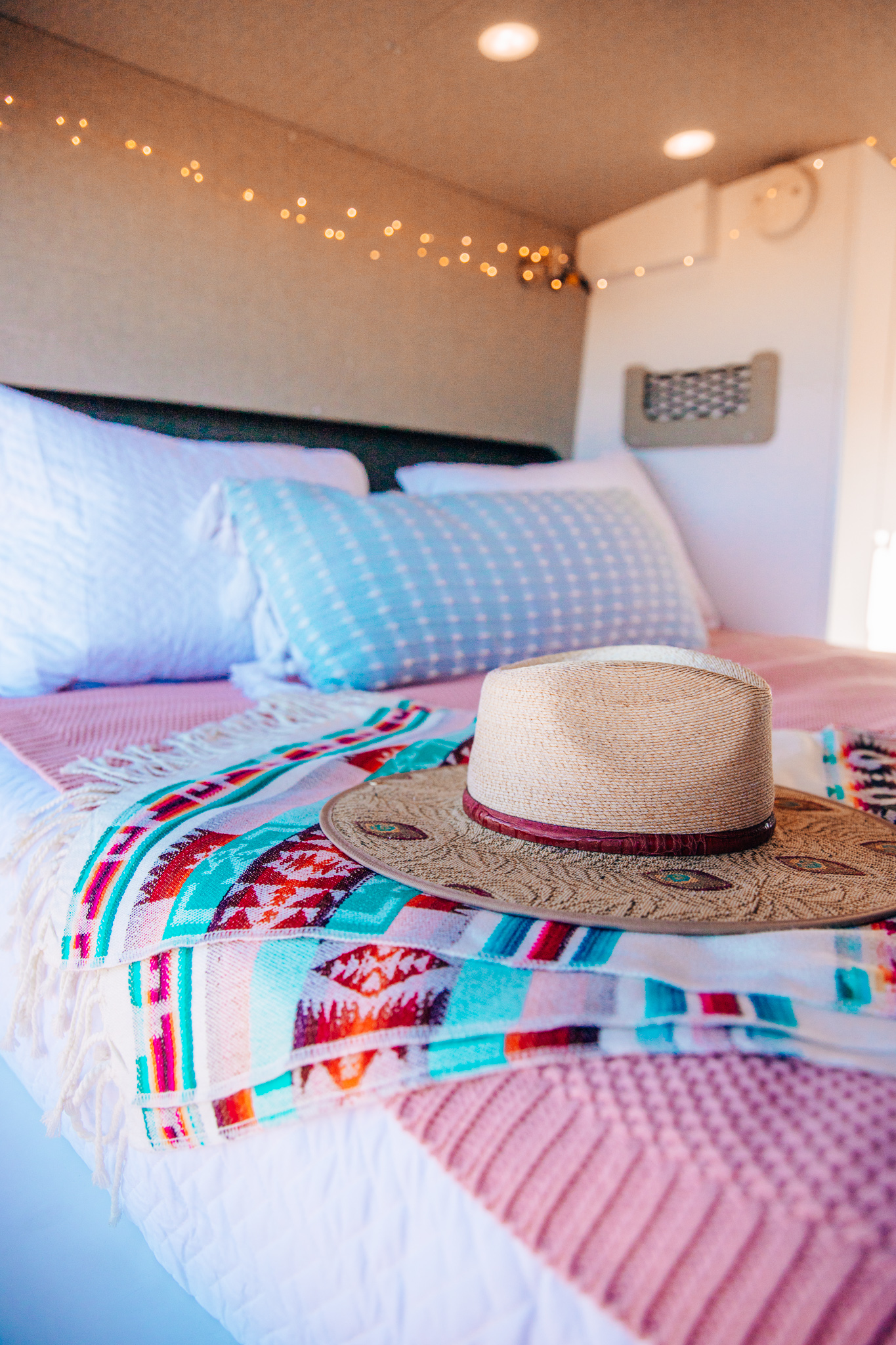 Cabana Van Queen size Bed with Revelgear String Lights and Blankets