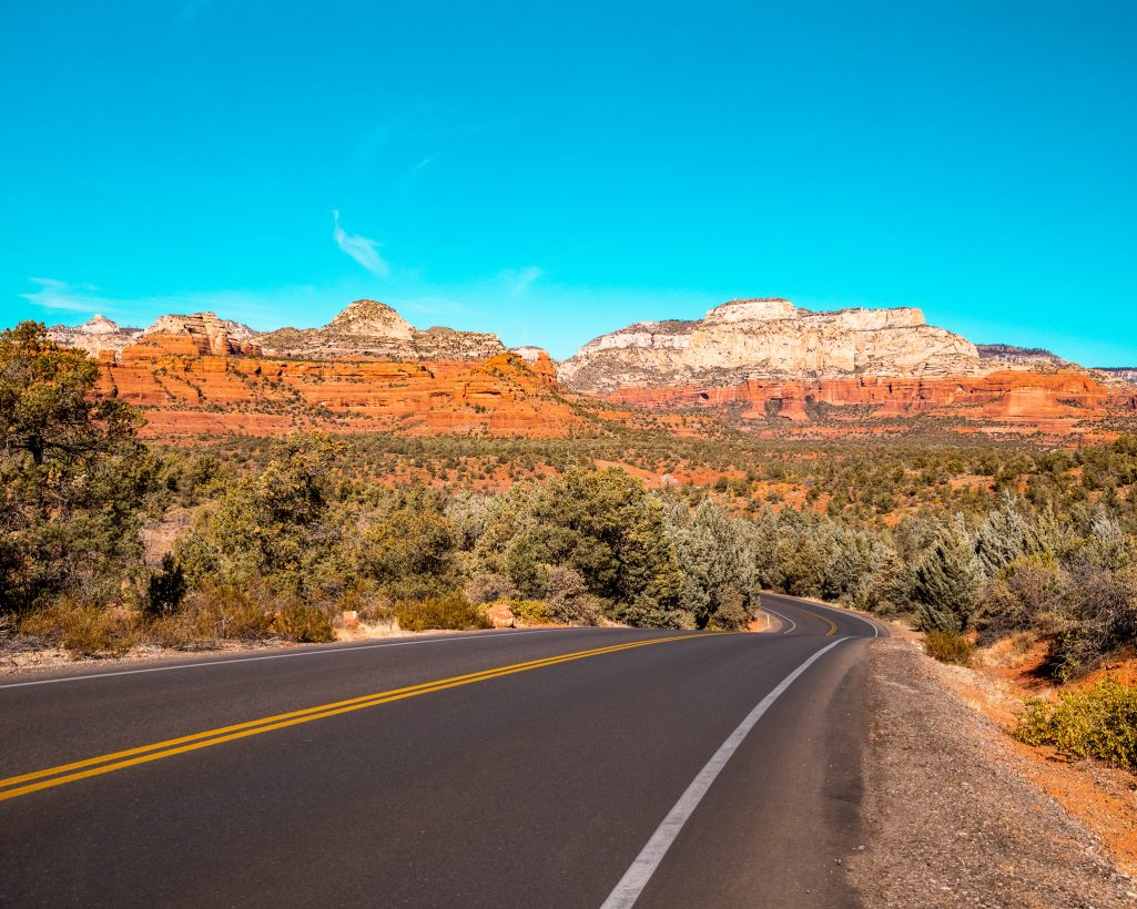Scenic Road in Sedona Arizona Surrounded by Red Rocks