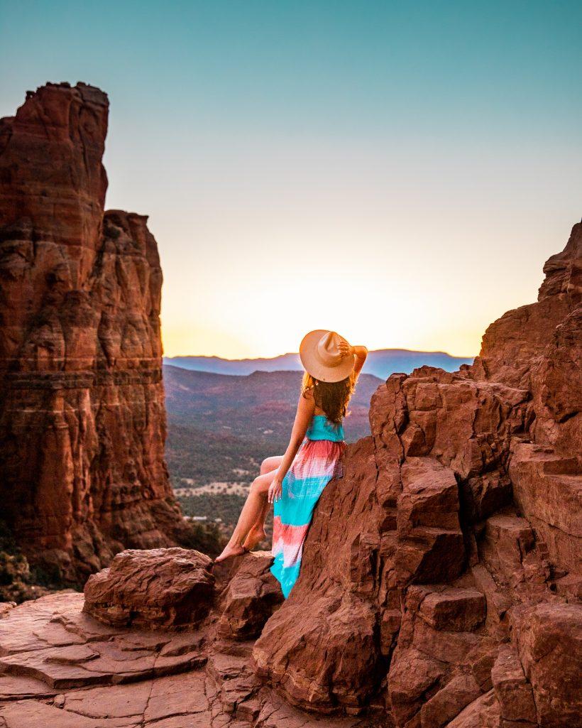 Sunset at Cathedral Rock Vortex in Sedona, Arizona