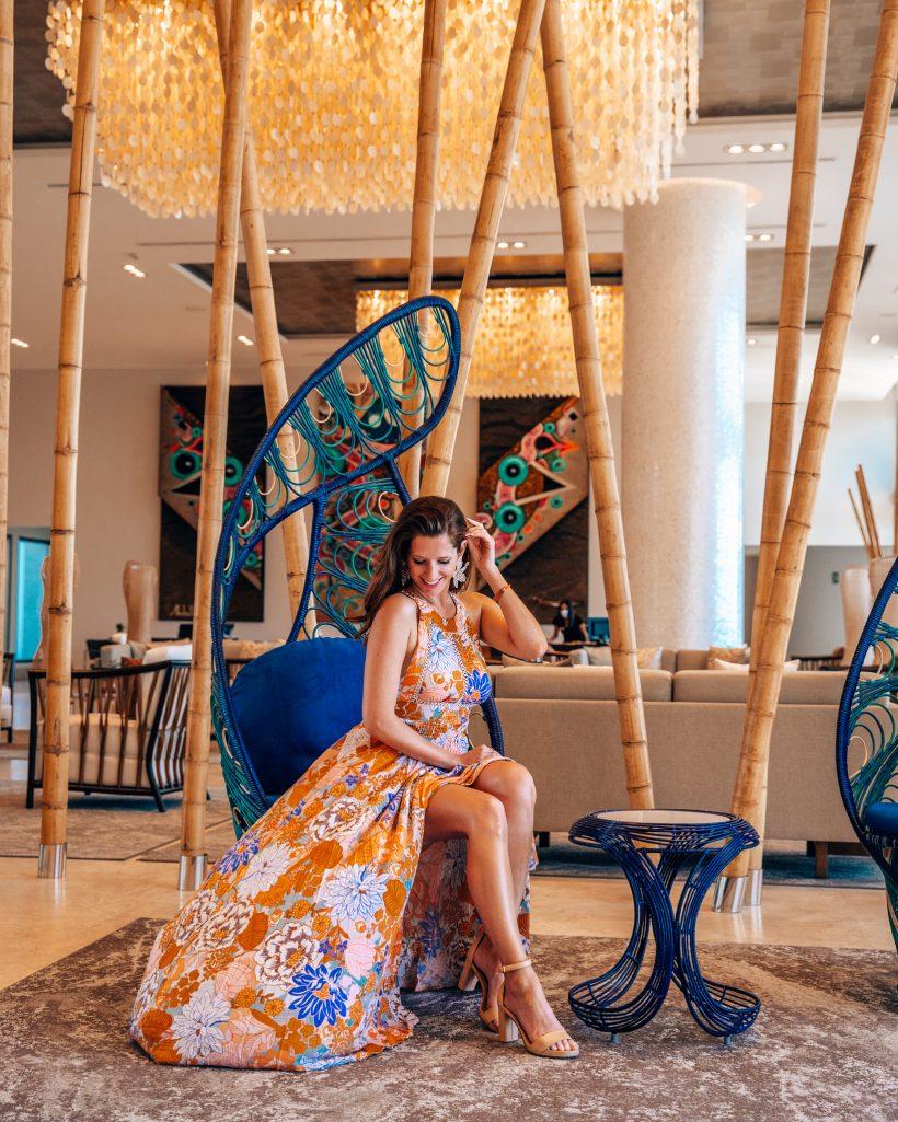 Blue Lobby Chairs at Garza Blanca Los Cabos