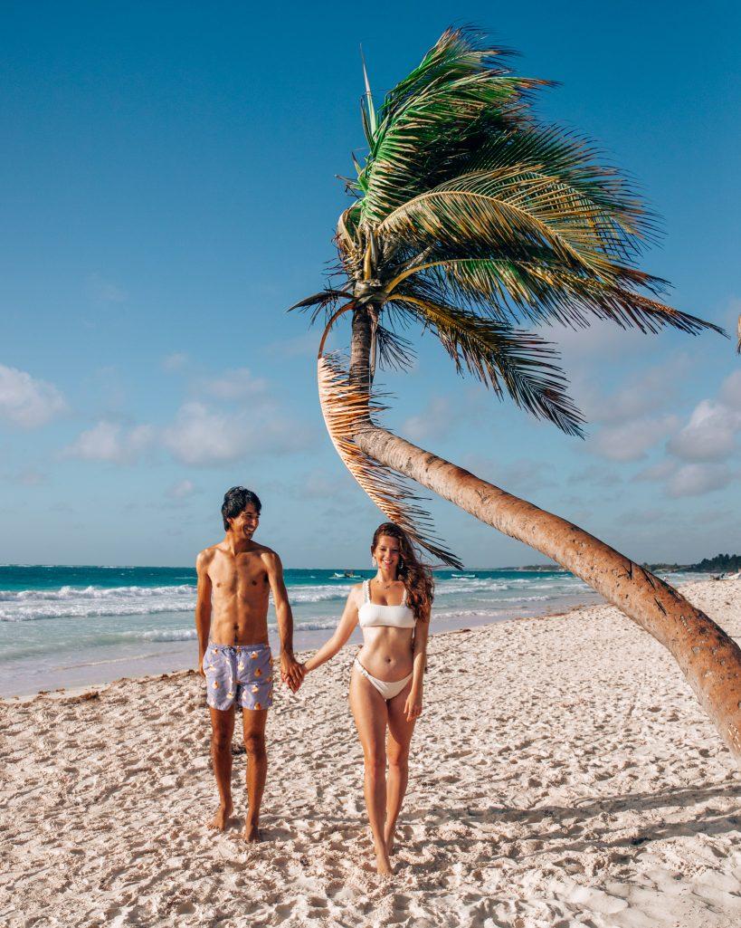 Bettina and Kyle at Crooked Palm Tree on Paraiso Playa Tulum