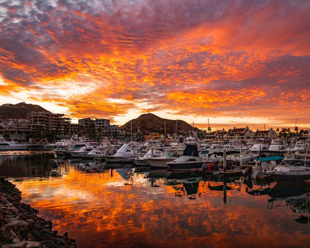 Bright Orange Sunset in Cabo San Lucas Marina