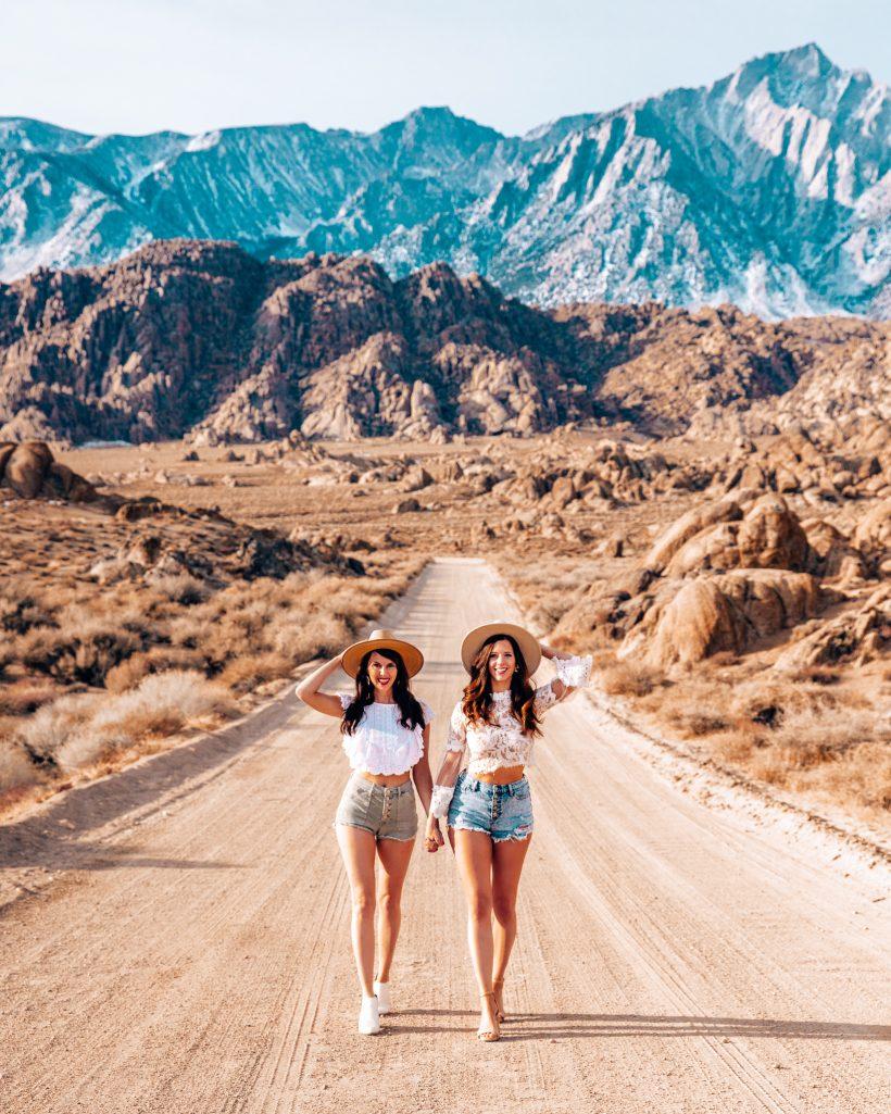 Bettina and Talia walking at Alabama Hills