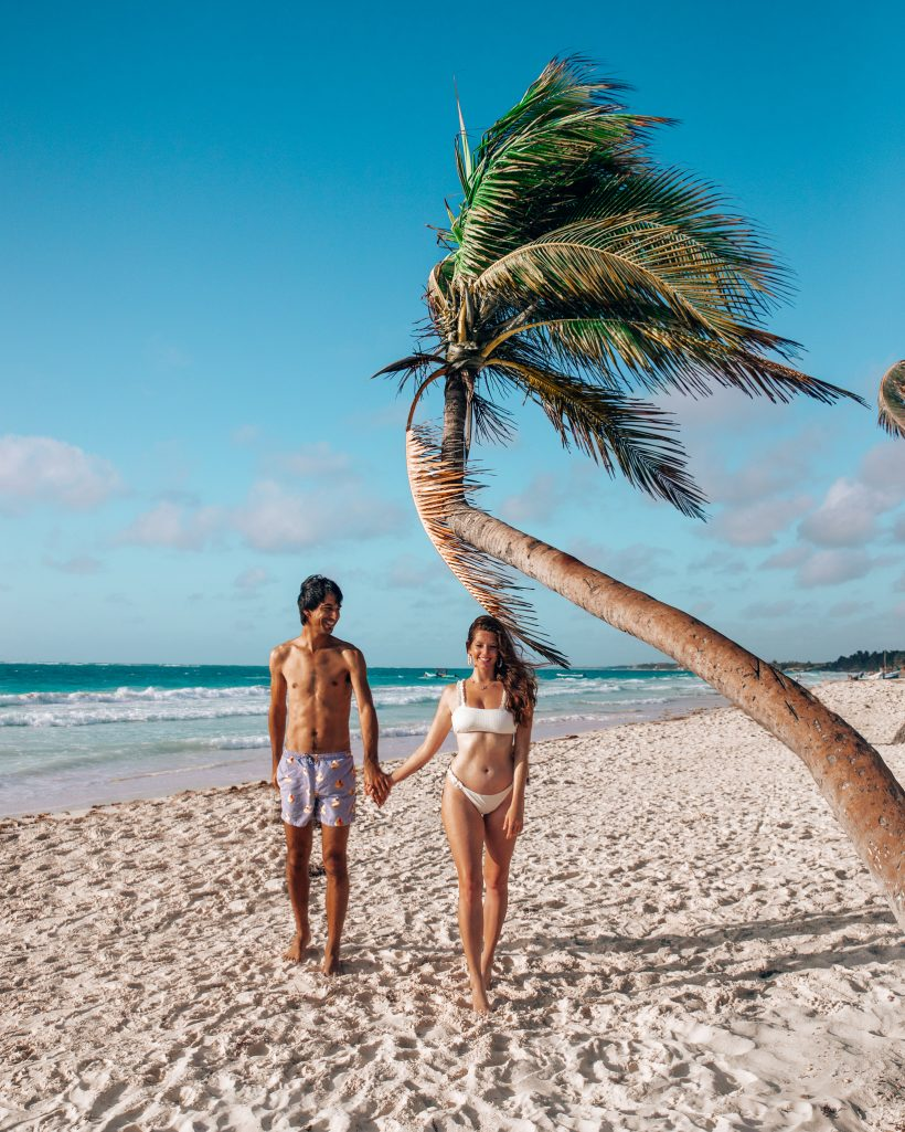 Leaning Palm tree in Tulum Beach