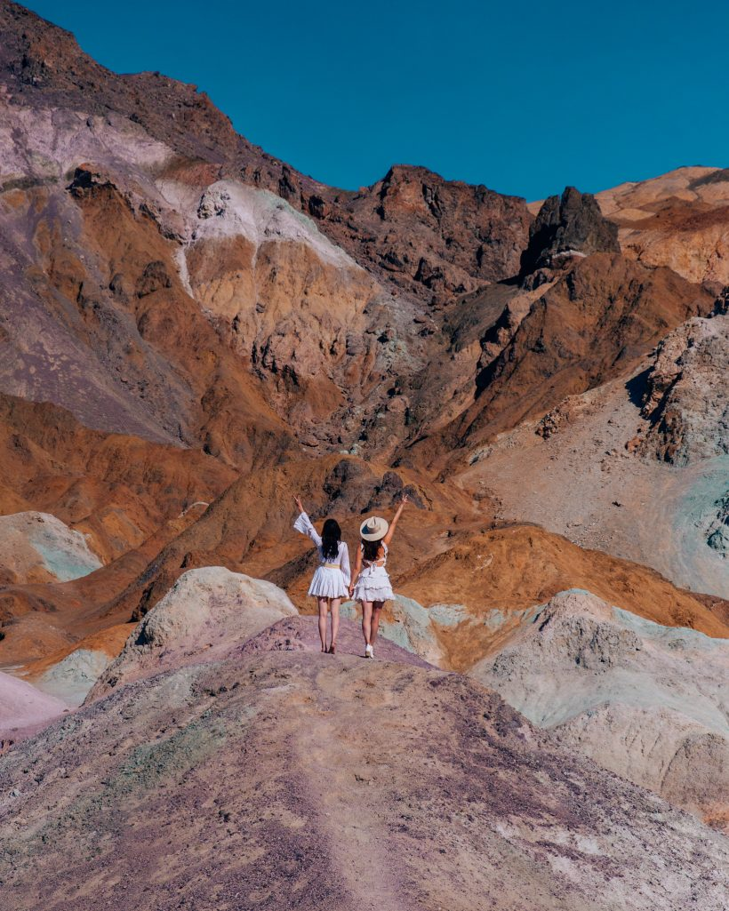 Bettina and Talia at Artist Palette in Death Valley