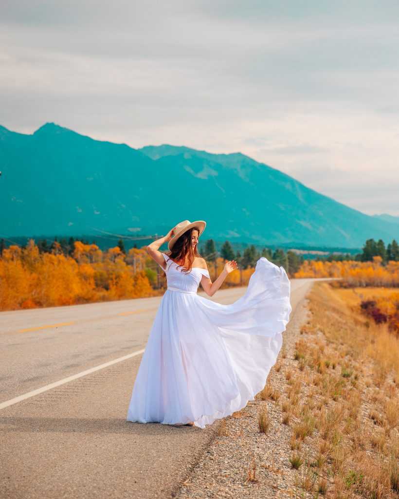 Bettina with White Dress in Fall in the Kootenays Canada