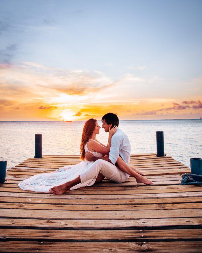 Sunset on the Dock at Hilton Aruba