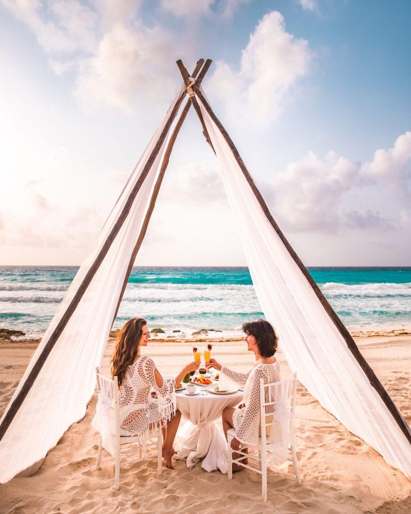 Bettina and Mom Cheersing at Hyatt Zilara Cancun