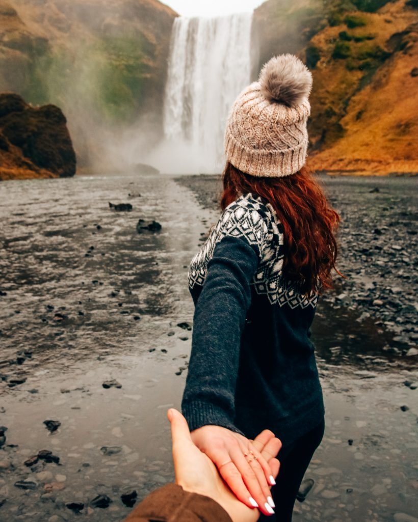 Iceland Holding Hands Waterfall